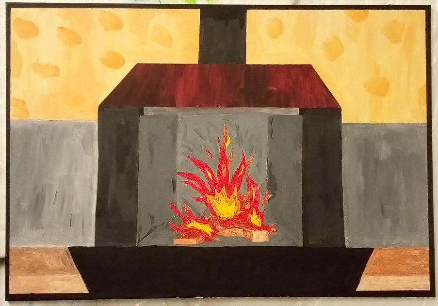 danel von bothmer, malerei, painting, art, bremen, kaminfeuer