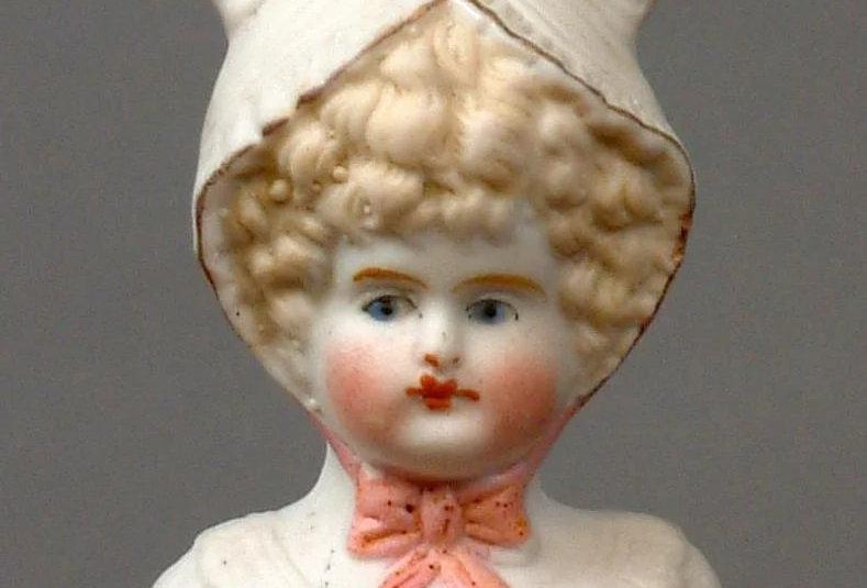 Antique Reproduction Porcelain Bonnet Head Doll