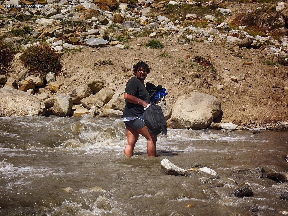 Getting the Camera Bag Moved Safly across the Stream in Zanskar