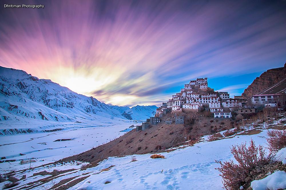 Long Exposure ShotWinter Spiti Key Monastery Dhritiman Lahiri