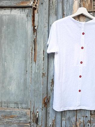 T-shirt bottoni bianco