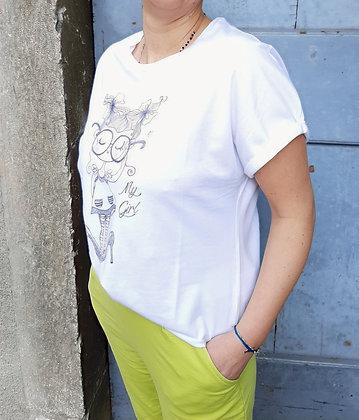 T-shirt tacchi bianca e ciclamino