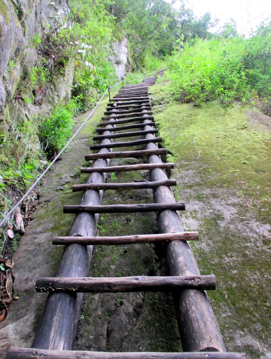 One of the oldest ladders in the world, up Putucusi Mountain in Peru. From the top you get a great view of Machu Picchu