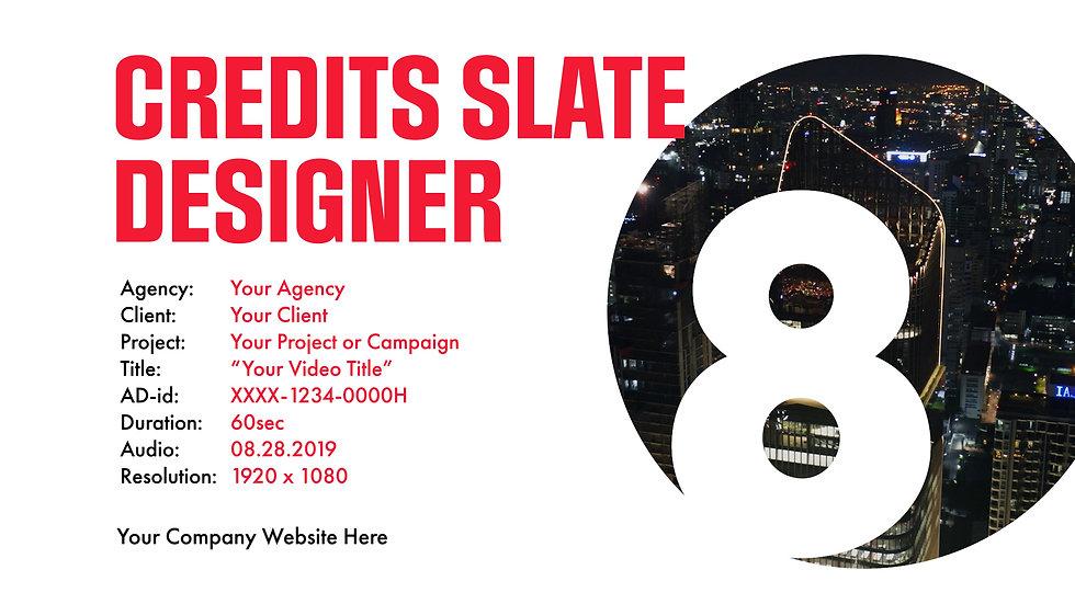 Credits Slate Designer Title Overlay