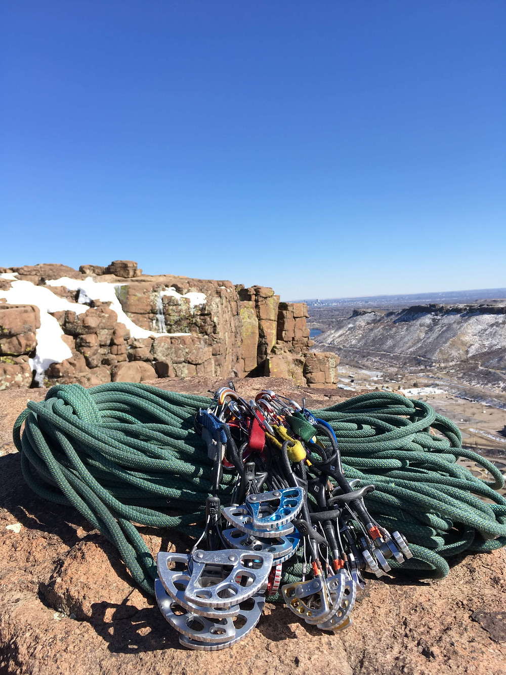 A trad rack for climbing at North Table Mountain