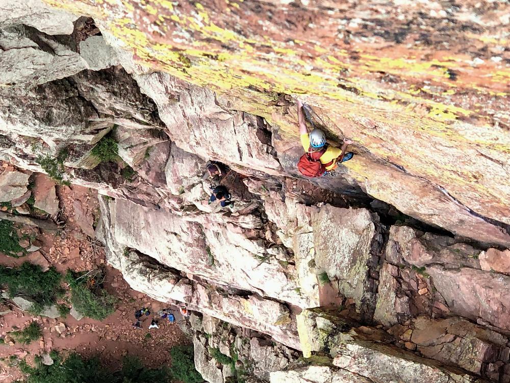 Crux traverse pitch of Rewritten in Eldorado Canyon