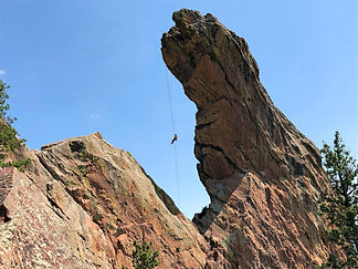 Rappelling off the Maiden in the Boulder Flatirons