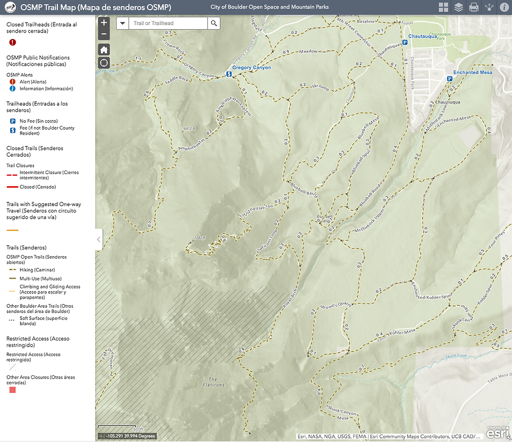 Boulder OSMP Interactive Hiking Trail Map