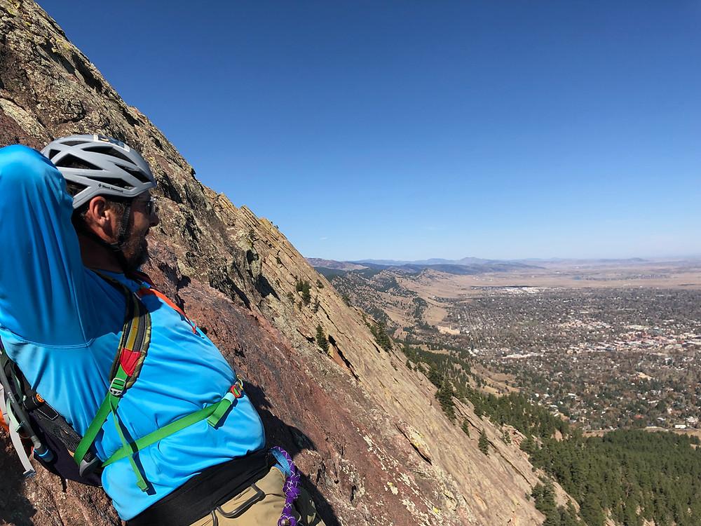 Rock climbing the Third Flatiron in Boulder