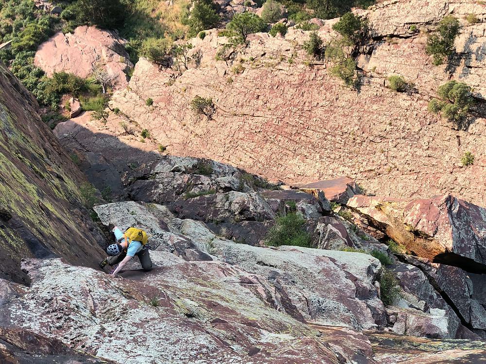 Climbing the Ruper Crack in Eldorado Canyon State Park