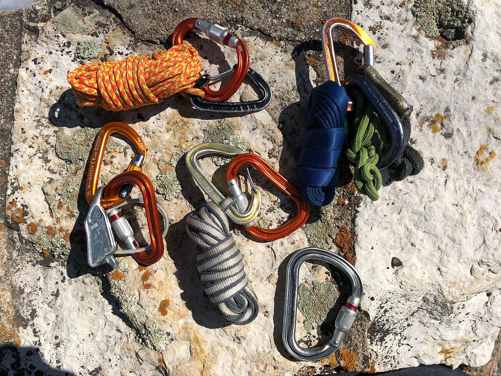 Personal rock climbing gear