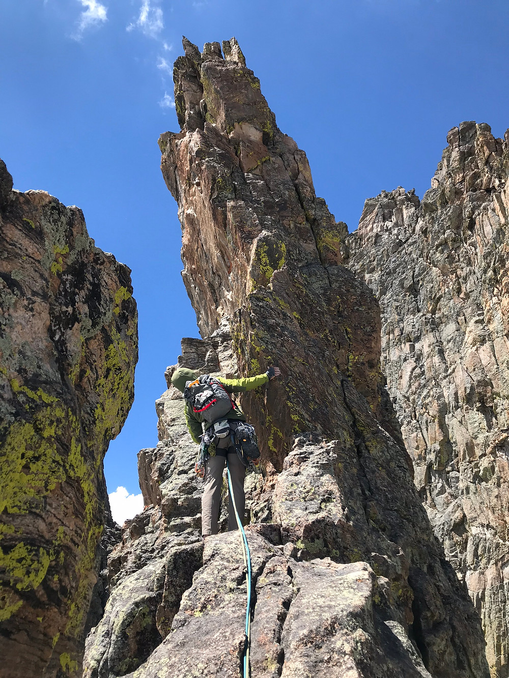 Rock climbing on the Petit Grepon in Rocky Mountain National Park