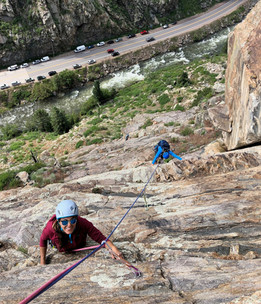 Multi-pitch sport climbing in Clear Creek Canyon