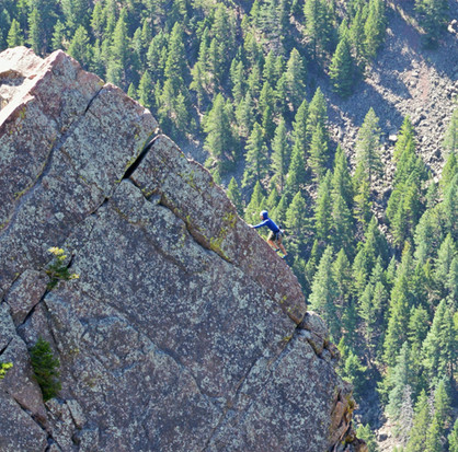 Guided rock climbing on the Yellow Spur, Eldorado Canyon State Park