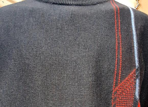 Navy patterned round neck
