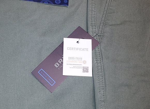 MID GREEN STRETCH COTTON TROUSERS BY BRUHL