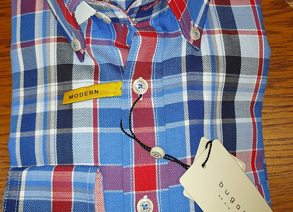 BLUE AND RED CHECK BUTTON DOWN SHIRT LONG SLEEVE
