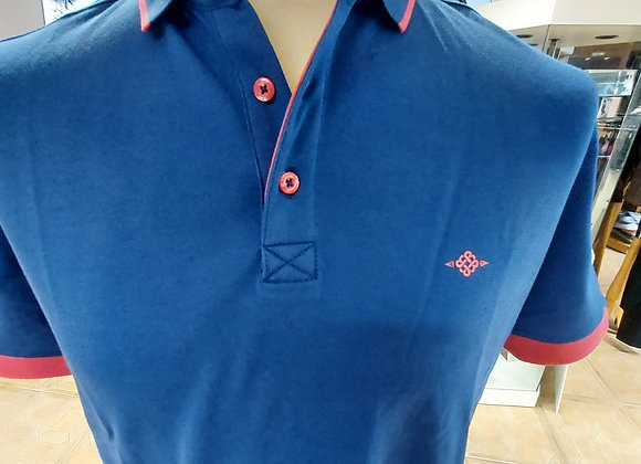 ROYAL BLUE POLO WITH RED TRIMS