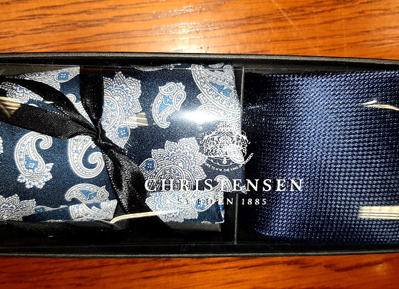NAVY SILK TIE AND POCKET SQUARE