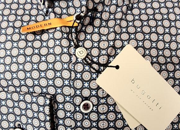 Bugatti plum and navy print shirt