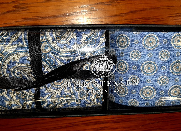 MID BLUE SILK TIE AND POCKET SQUARE