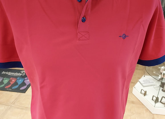 CHERRY RED POLO SHIRT WITH NAVY TRIMS