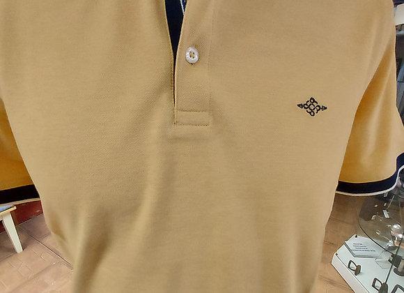 lemon and navy polo shirt
