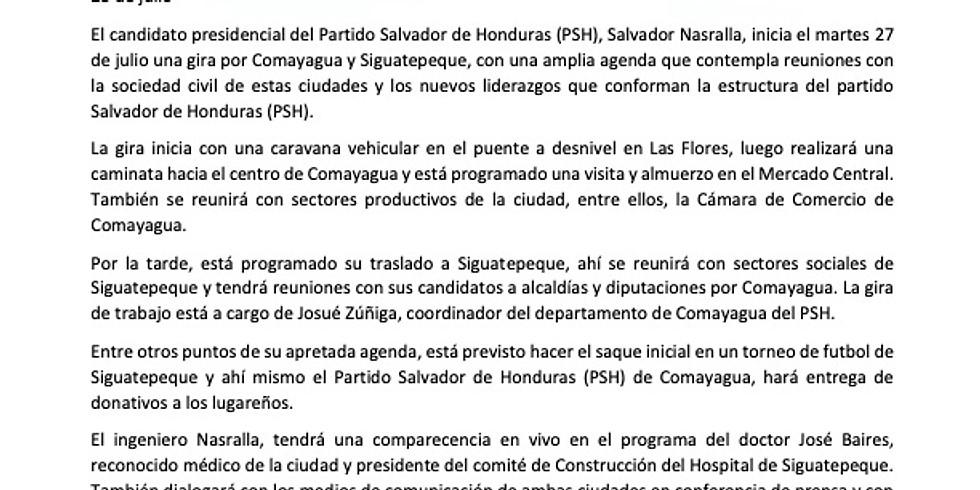 Visita a Comayagua y Siguatepeque