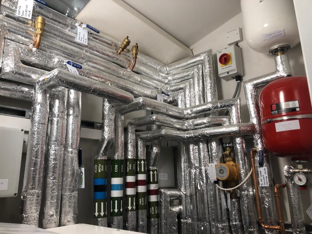 Engine room with silver insulation