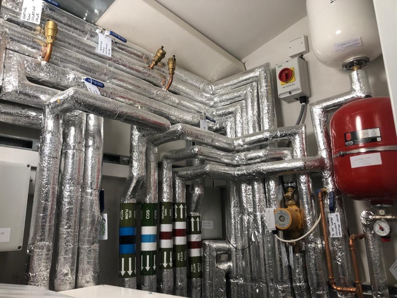 Plant room with silver insulation