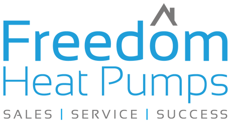 Freedom Heat Pumps logo in blue. Sales, Service and Success