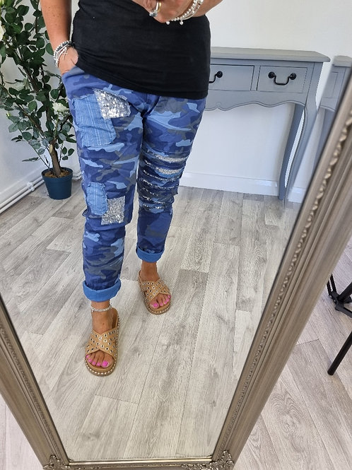 The Ripped Sequin Camo MagicTrousers