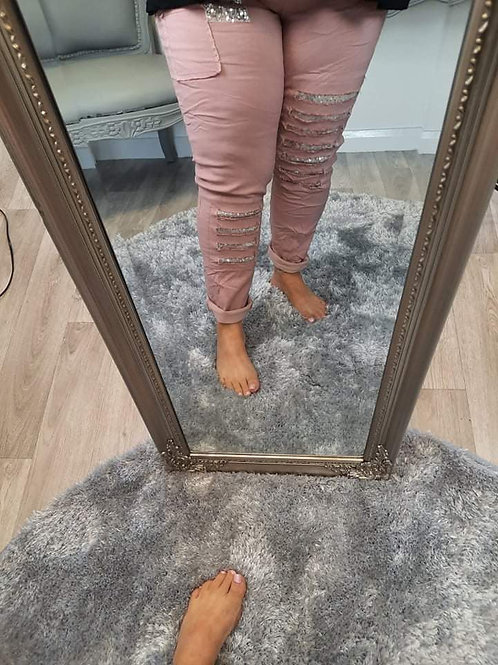 The Plain Ripped and Patch Sequin Magic Trousers