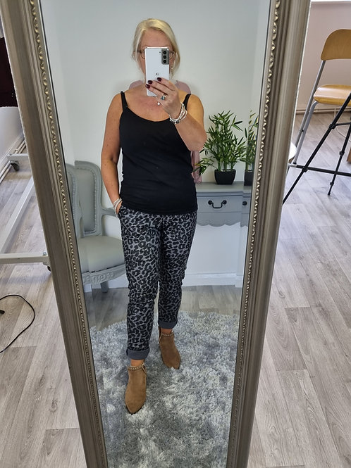 The PU Leopard Leather Look Trousers - Skinny Fit