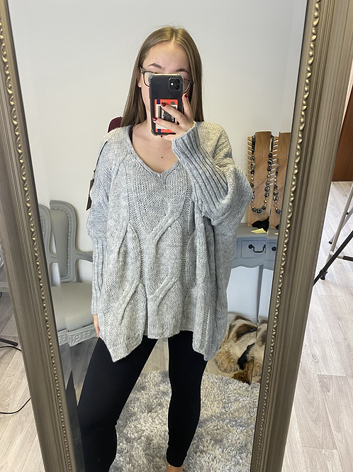 The Cable Knit V Neck Jumper