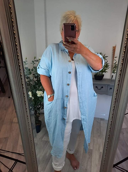The Lorenza Long Linen Shirts - Plus Size