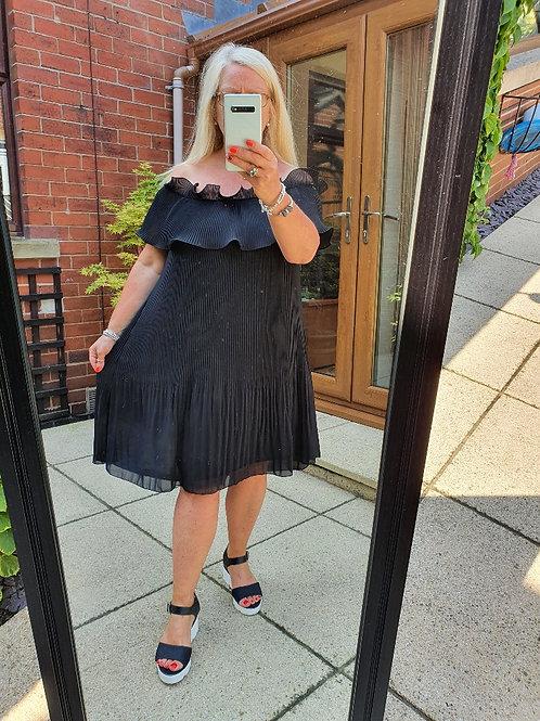 The Plain Bardot Frill Pleated Tunic Dresses - Sale Item - NO RETURN