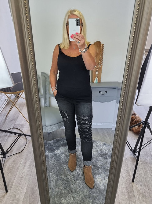 The Sequin Distressed Denim Jeans