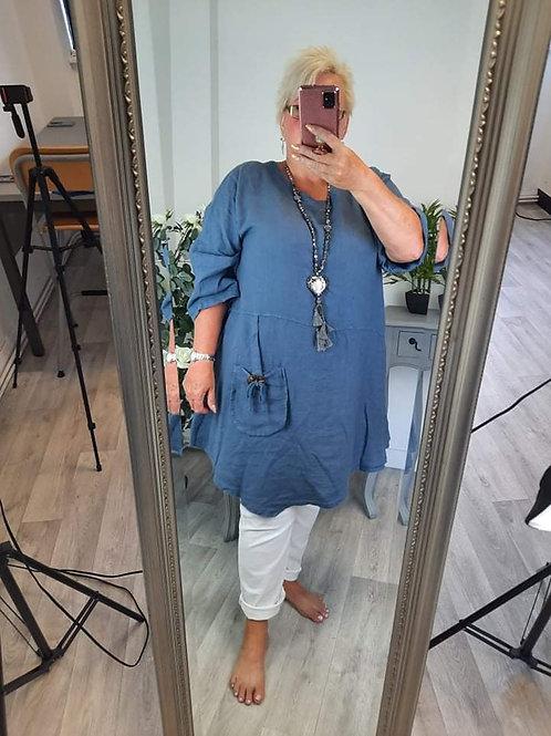 The Linen Button Pocket Tunic - PLUS SIZE