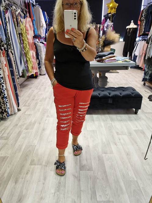 The Ripped Sequin Magic Trousers - Red