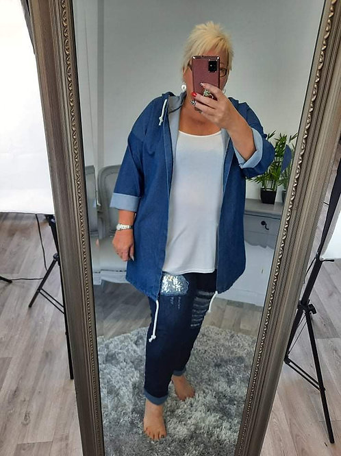 The Distressed Sequin Denim Casual Jacket