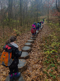 Ijams Nature Preschool children walking on stumps on a trail