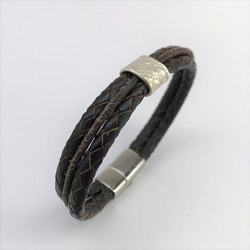 dreifaches Lederband mit Silber 925