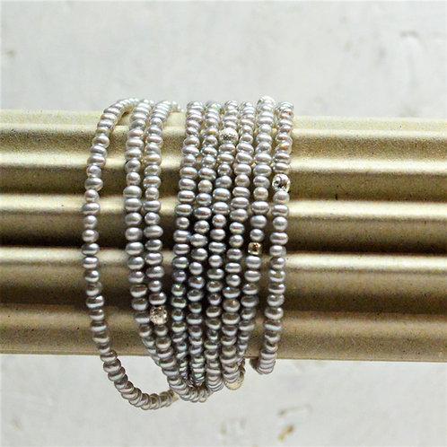 Süsswasserzuchtperlen grau mit Silber 925