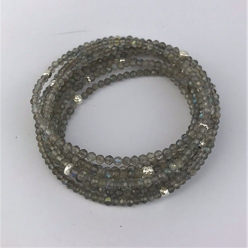 Lange Kette aus Labradorit mit Silber 925