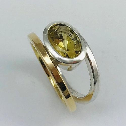 Gelbgold 750 und Silber 925 mit Beryll