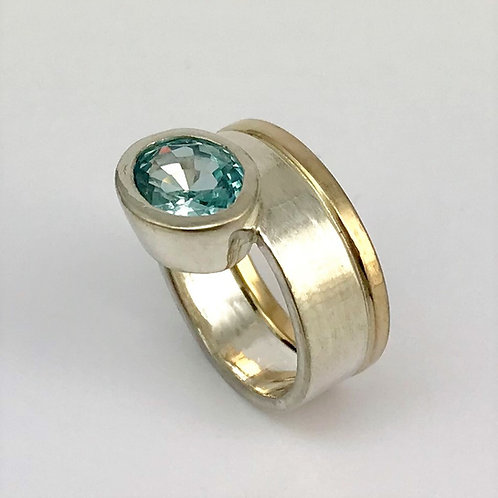 Ring Silber 925 mit Gelbgold 750 und Zirkon