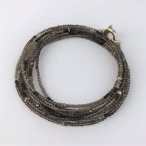 Lange Kette aus Rauchquarz mit Silber 925