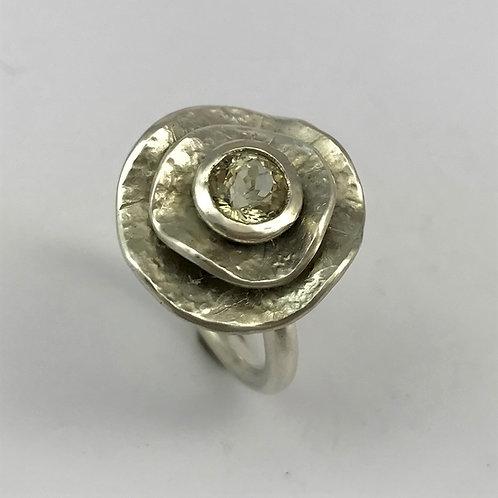 Blumenring Silber 925 mit Turmalin