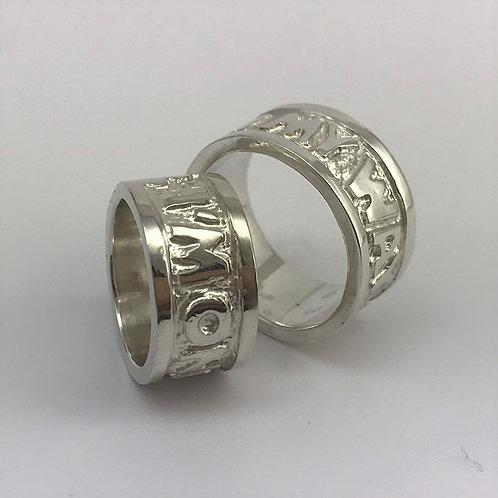 Silber 925 mit gefrästem erhabenem Schriftzug